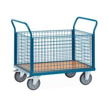 Chariot à plate-forme fetra®, avec ridelles grillagées sur les 4côtés