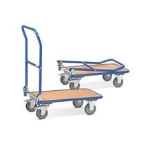 Chariot à plate-forme fetra® avec surface de chargement en bois, poignée rabattable