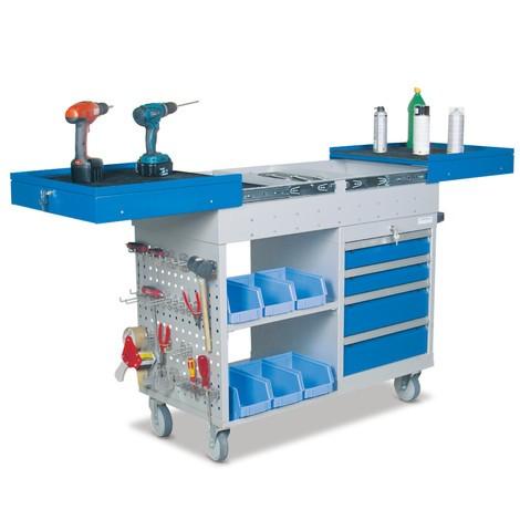Chariot d atelier avec 4 tiroirs, 2 rangements, coulisse télescopique 3eaae81e5778