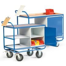 Chariot d'atelier avec armoire + 3 plateaux