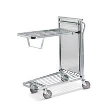 Chariot de transport et d'entreposage, tablettes rabattables avec mécanisme à ressorts