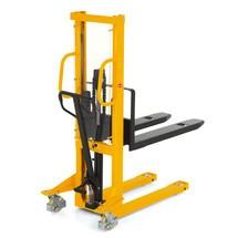 Chariot élévateur hydraulique Ameise® avec monomât, RAL 1028 jaune melon