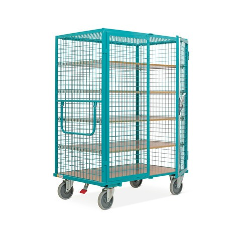 Chariot fermé tôlé Ameise®, parois grillagées, bleu turquoise