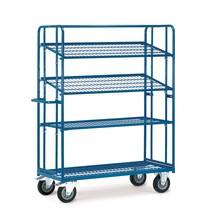 Chariot à plateaux pour bacs fetra®, capacité de charge 400 kg, avec plateaux grillagés