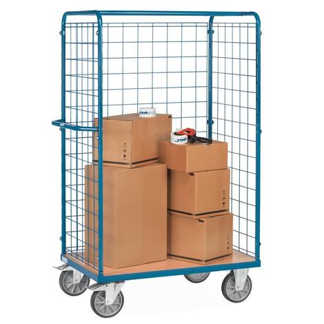 Chariot pour paquets fetra®, avec ridelles grillagées sur 3côtés