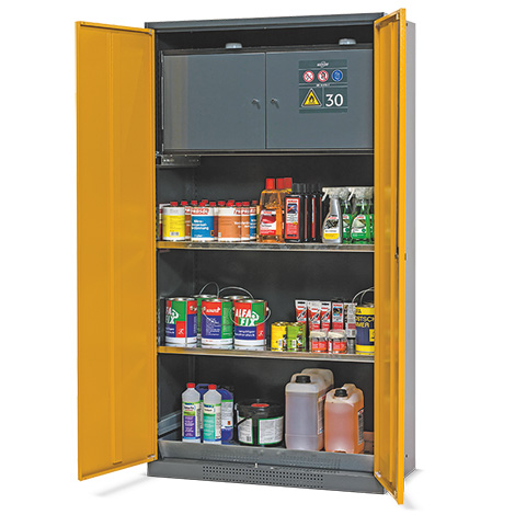 Chemikalien- und Giftschrank mit Sicherheitsbox Typ-30, 2 Fachb. u. 1 Bodenwanne