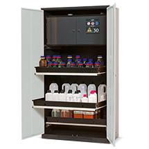 Chemikalien- und Giftschrank mit Sicherheitsbox Typ-30, 3 Tablarauszüge m. Wanne