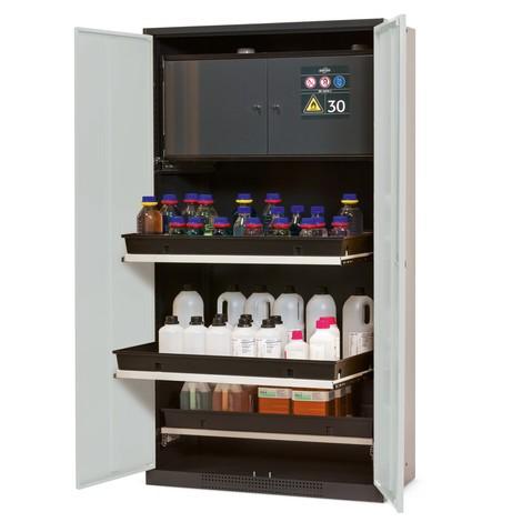 Chemikalien- und Giftschrank mit Sicherheitsbox Typ 30, asecos®, 3 Tablarauszüge
