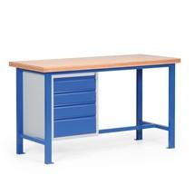 Ciężki stół warsztatowy z blokiem szuflad