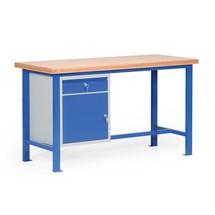 Ciężki stół warsztatowy z szufladą i szafką