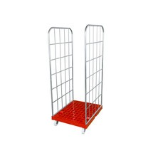 Classic roll container, 2-sided, electro galvanised, plastic platform dolly, HxWxD 1,850 x 724 x 815 mm