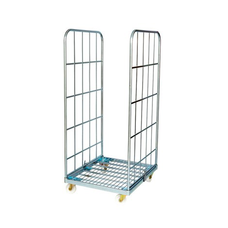 Classic roll container, 2-sided, electro galvanised, steel platform dolly