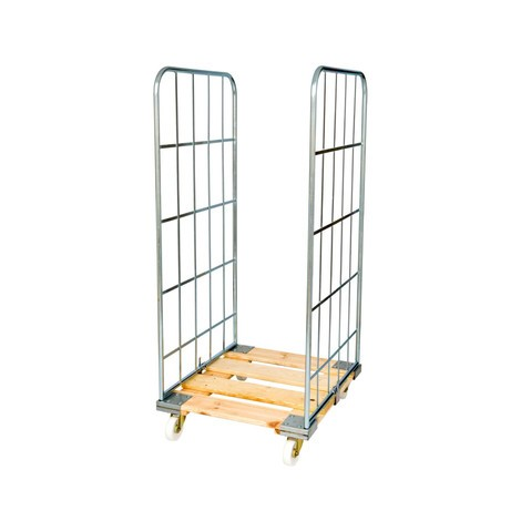 Classic roll container, 2-sided, electro galvanised, wooden platform dolly