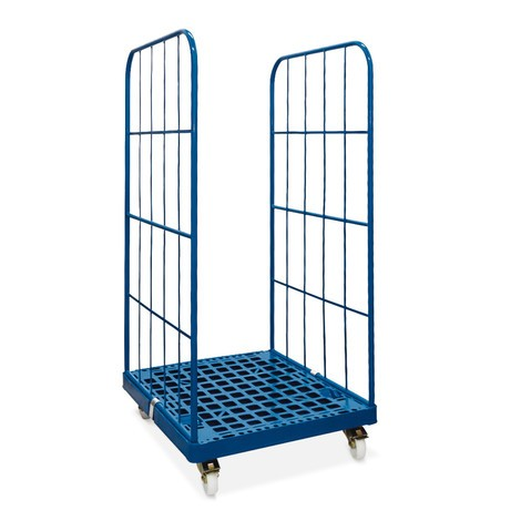 Classic roll container, 2-sided, powder-coated, plastic platform dolly, HxWxD 1,650 x 724 x 815 mm