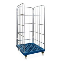 Classic roll container, 3-sided, electro galvanised, plastic platform dolly, HxWxD 1,650 x 724 x 815 mm
