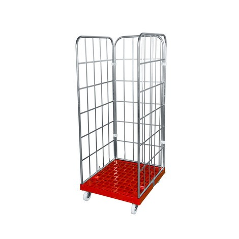 Classic roll container, 3-sided, electro galvanised, plastic platform dolly, HxWxD 1,850 x 724 x 815 mm