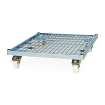 Classic roll container, 3-sided, electro galvanised, steel platform dolly