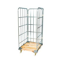 Classic roll container, 3-sided, electro galvanised, wooden platform dolly