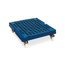 Classic roll container, 3-sided, powder-coated, plastic platform dolly, HxWxD 1,650 x 724 x 815 mm