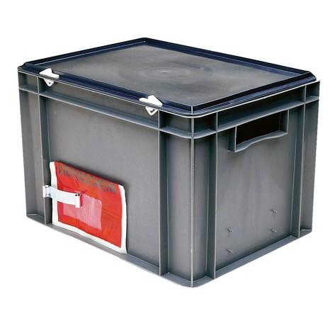 Clip de etiqueta para contenedores de apilamiento Euro, paredes y fondo cerrado