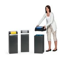 Coletor de materiais recicláveis VAR®, 60 litros, fecho automático, em aço galvanizado e revestido a pó