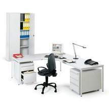 Compleet bureau: tafel, draaistoel, 2 mobiele ladekasten, kast