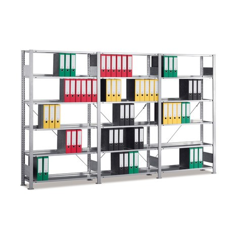 Complete filing shelf package, HxWxD 1850 x 3000 x 300 mm, 6 shelves, galvanised