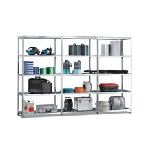 Complete META shelf rack package, bolted, shelf load 230 kg, galvanised