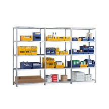 Complete META shelf rack package, bolted, shelf load 80 kg, galvanised