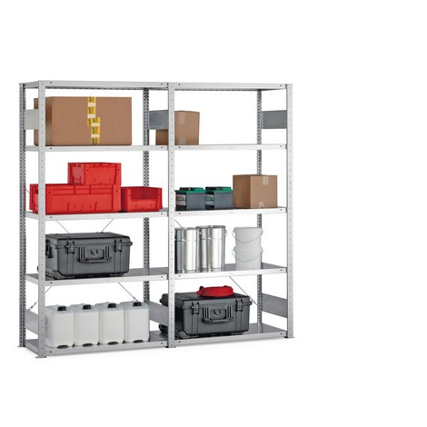 Complete package, META shelf rack, boltless, shelf load 150 kg, galvanised