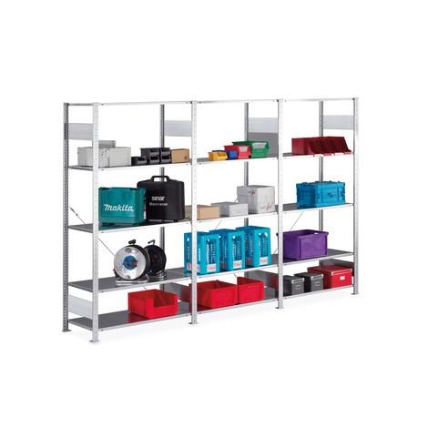 Complete package, META shelf rack, boltless, shelf load 80 kg, galvanised