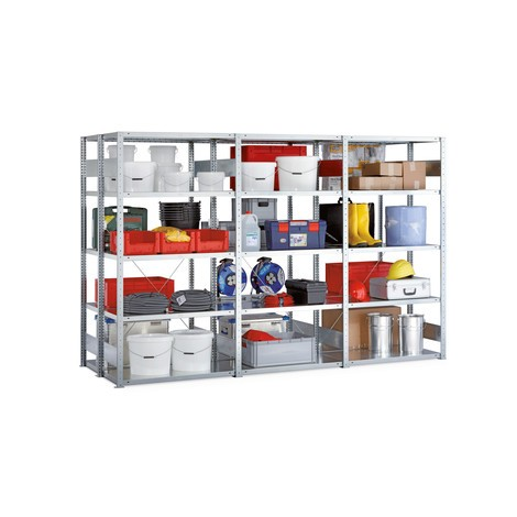 Complete package, META shelf rack, double-row, shelf load 230 kg, galvanised