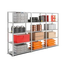 Complete package, shelf rack with steel plate decks