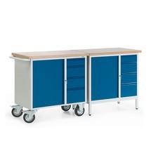 Complete set: kleine compacte werkbank: 1 verrijdbare + 1 stationaire werkbank