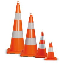 Cone de tráfego em PVC, transitável, retrorrefletor