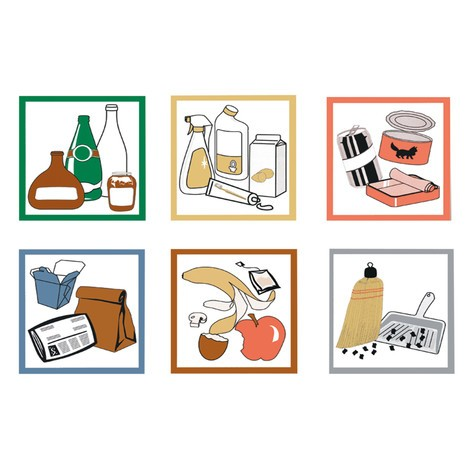 Conjunto de autocolantes para caixote de reciclagem stumpf®