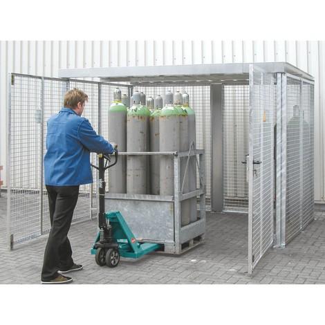 Container för gasflaskor, med tak