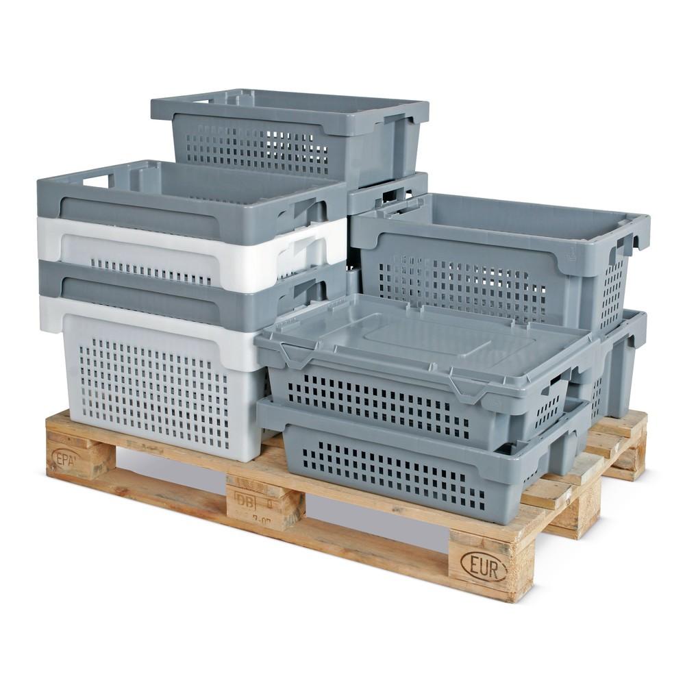 Contenedor apilable giratorio, paredes + fondo perforados