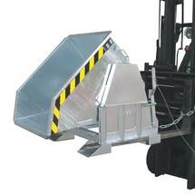 contenedor basculante con mecanismo rodante Premium, forma constructiva ancho, galvanizado, sin tapa