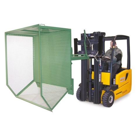 contenedor basculante, paredes de celosía, baja altura de construcción, galvanizado
