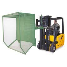 contenedor basculante, paredes de celosía, baja altura de construcción, pintado, volumen 1 m³
