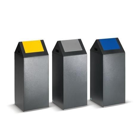Contenedor de reciclaje VAR®, 60 litros, autoextinguible, de acero galvanizado y con recubrimiento de polvo, tapa angulosa