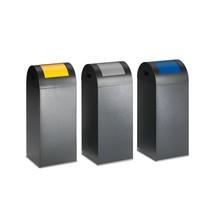 Contenedor de reciclaje VAR®, 60 litros, autoextinguible, de acero galvanizado y con recubrimiento de polvo, tapa redonda