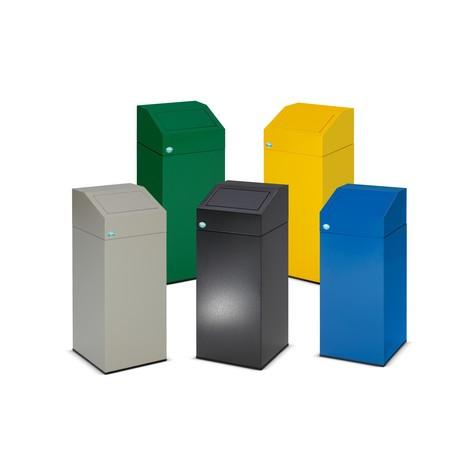 Contenedor de reciclaje VAR®, cierre automático, de acero galvanizado y con recubrimiento de polvo