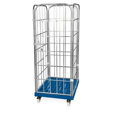 contenedor de rodillos, 4 caras, pared delantera de una sola pieza, plataforma rodante de plástico, alto H x An x F 1,850 x 724 x 815 mm