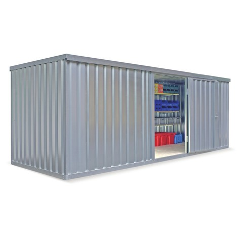 Conteneur matériau module unique, HxLxP 2 150 x 3,050 x 2 170 mm, monté, plancher en bois, peint