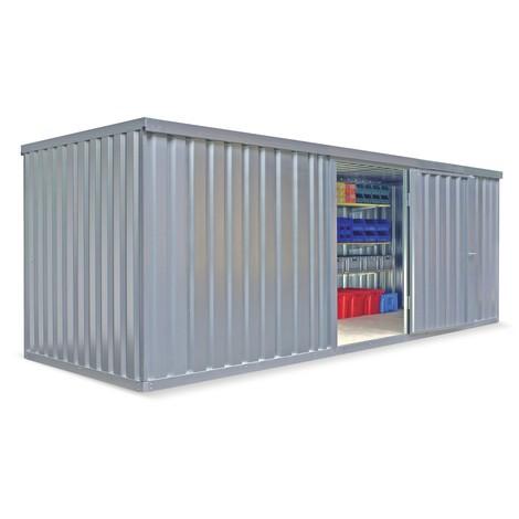 Conteneur matériau module unique, HxLxP 2 150 x 5,080 x 2 170 mm, monté, plancher en bois, peint