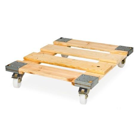 contenitore a rulli, 4 lati, parete anteriore divisa, base su ruote in legno