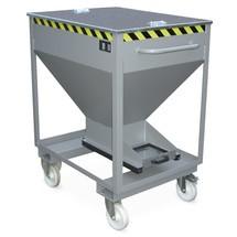 Contenitore a silo, con chiusura scorrevole, tasca di inforcamento + ruote