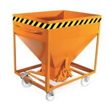 Contenitore a silo, con chiusura scorrevole, tasche di inforcamento + ruote, verniciato, volume 0,6 m³